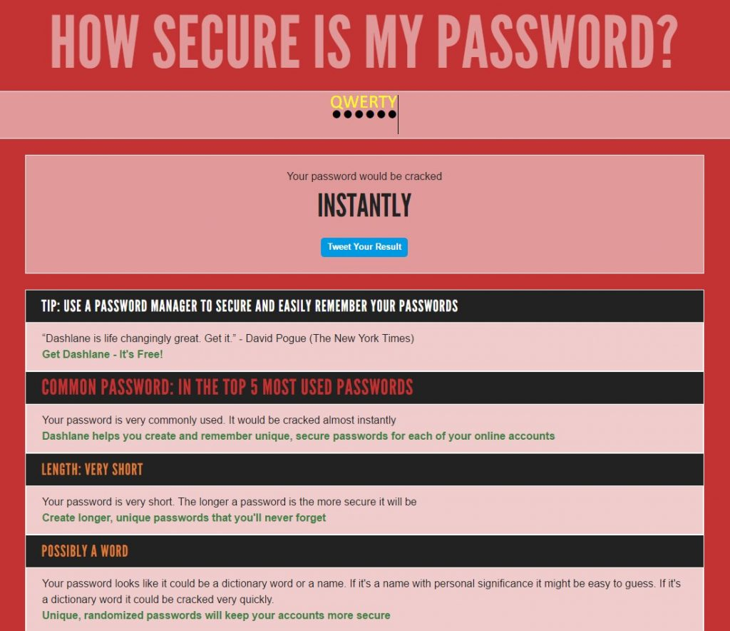 qwerty is an unsecure password
