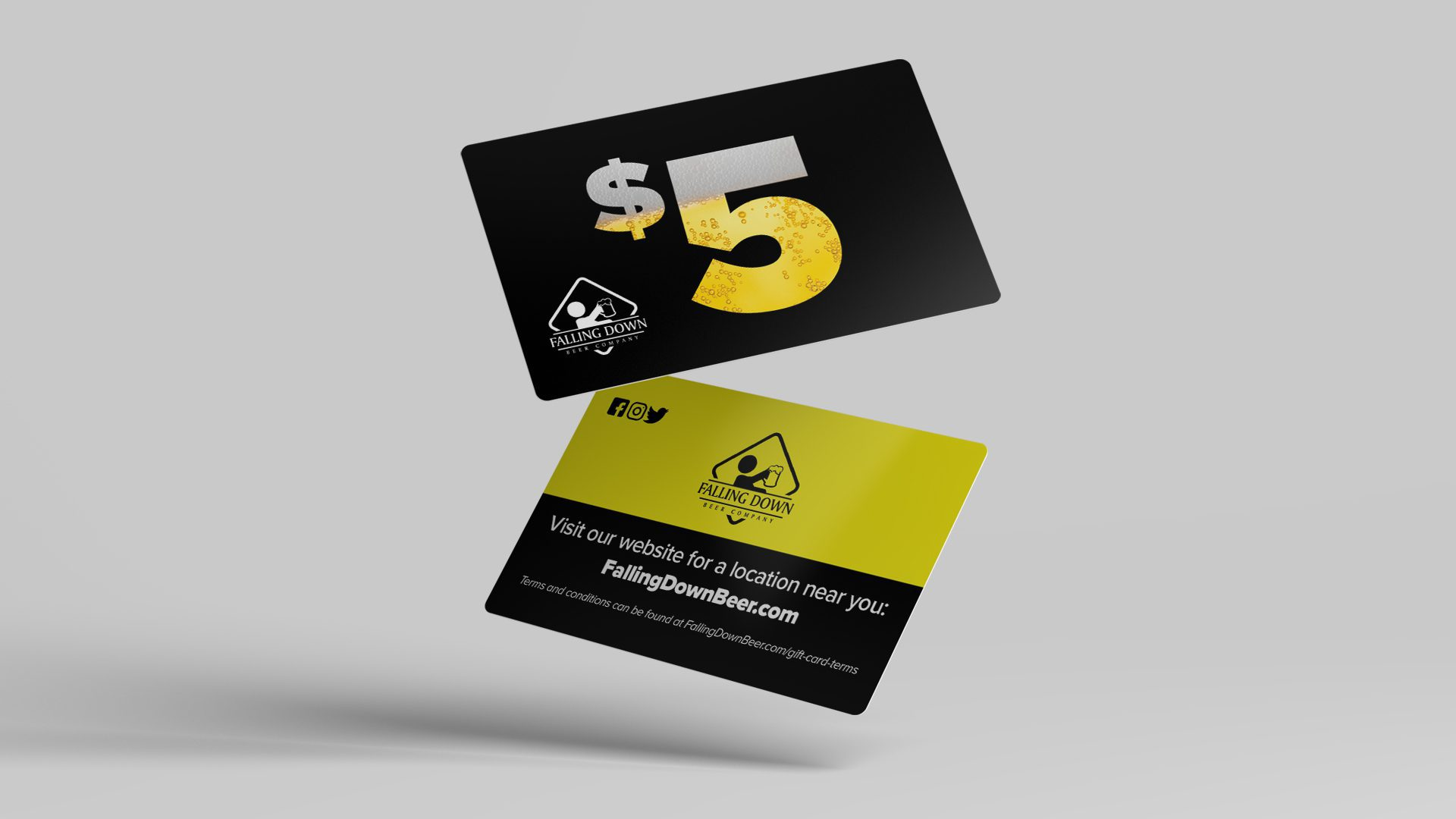 Falling Down Beer Co – Gift Cards Mockup 01