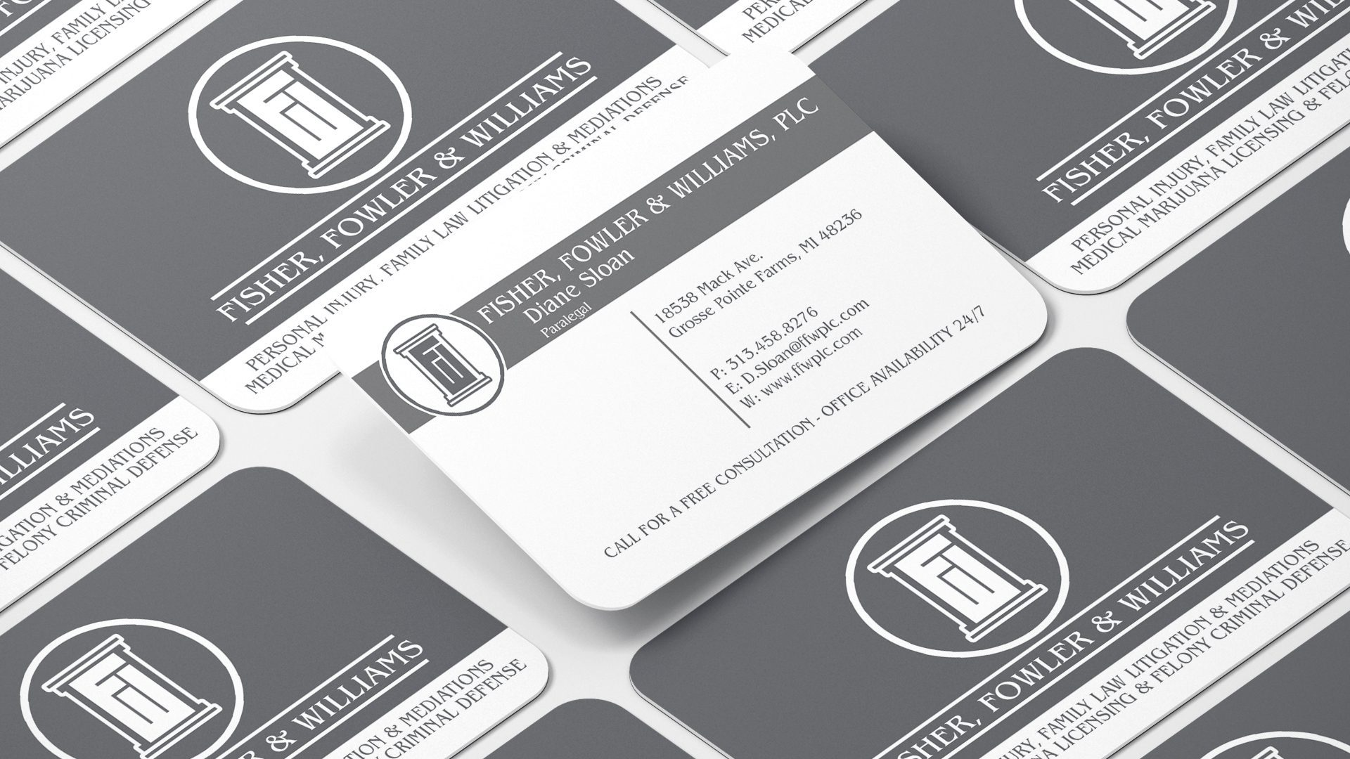 Fowler and Williams – Matte Business Card with Rounded Corners Mockup 03