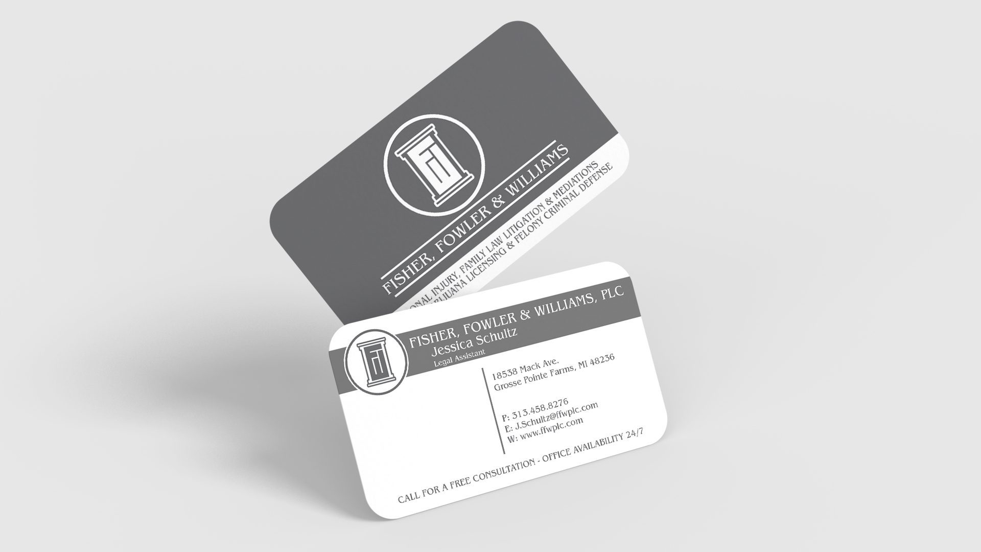 Fowler and Williams – Matte Business Card with Rounded Corners Mockup 04