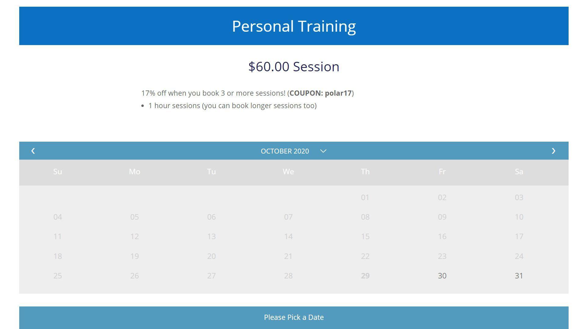 Polar Fitness eCommerce Personal Training Booking Calendar (1)