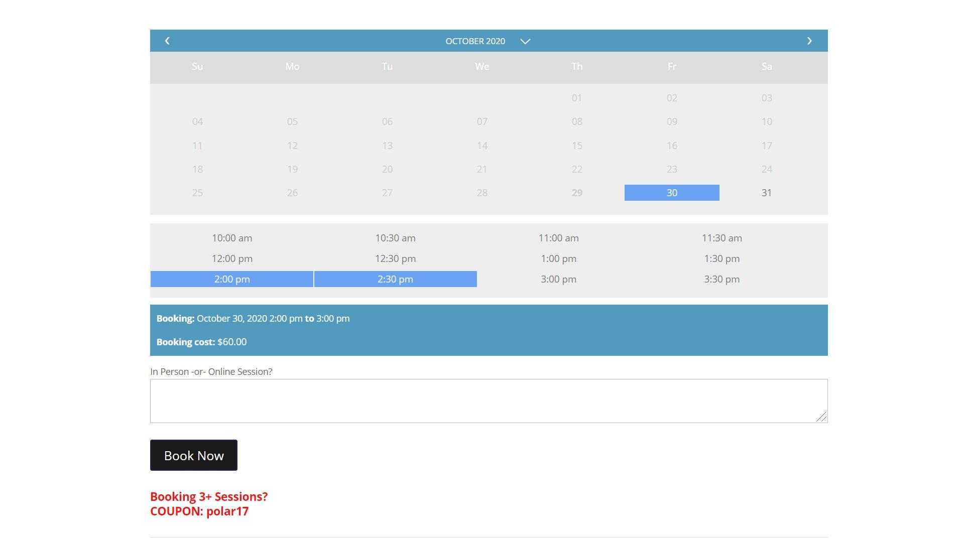 Polar Fitness eCommerce Personal Training Booking Calendar (3)