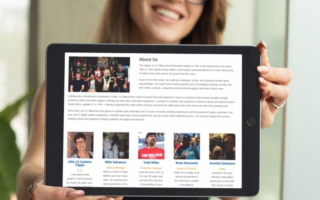 J's Silkscreens Eastpointe – Responsive Website Design