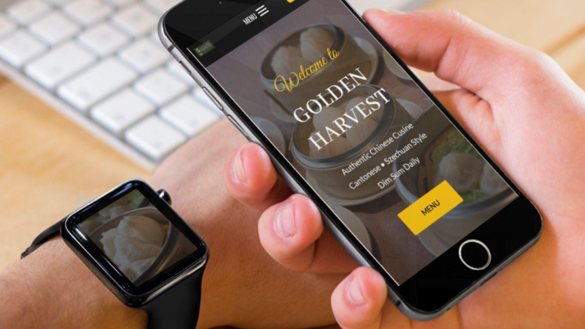 Golden Harvest Website on phone
